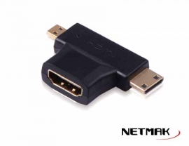 ADAPTADOR HDMI (H) A MINI+MICRO HDMI (M)  NM-C8