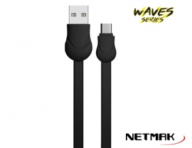 CABLE MICRO USB WAVE SERIES 1M NEGRO 2.1A NM-121