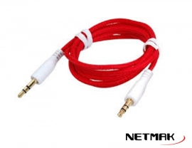 Cable Miniplug 3,5mm a 3,5mm Reforzado 1m RED NM-C66R