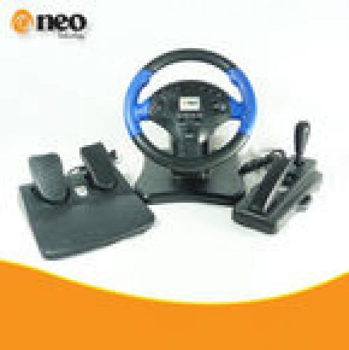 VOLANTE CON PEDALES - Palanca al piso - Pedalera - USB + PLAY con VIBRACION NV-G