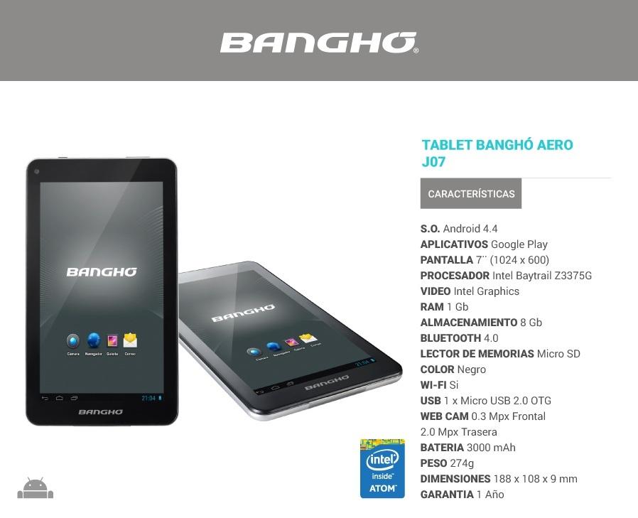 TABLET BANGHO AEREO J0715-I220 - 8GB
