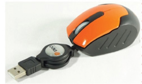MINI MOUSE OPTICO 1200dpi, RETRACTIL - Color: Naranja NUEVO MODELO  NV-M866 NEO