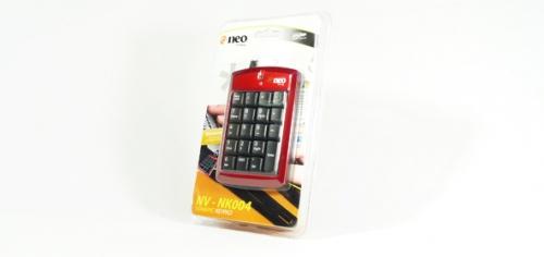 TECLADO NUMERICO (KEYPAD) USB RETRACTIL, Color Negro con borde ROJO  NV-K004 NEO